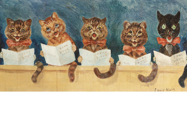 Louis William Wain (British, 1860-1939) The Cats' Chorus 29 x 59.5 cm. (11 1/2 x 23 1/2 in.)