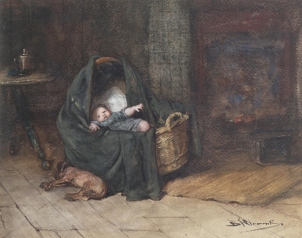 Bernardus-Johannes Blommers (Dutch, 1845-1914) Time to sleep 22 x 28 cm. (8 3/4 x 11 in.)