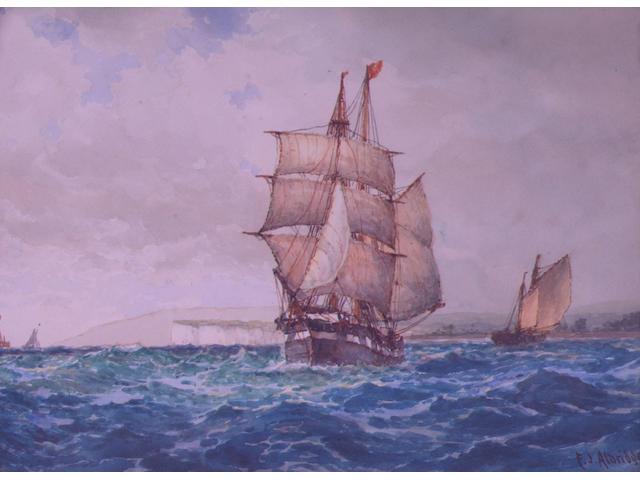 Frederick James Aldridge (1850-1933) 'Ship under full sail off a chalk headland' 25 x 35cm