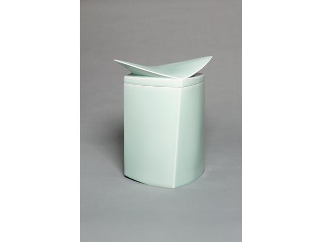 Fukami Sueharu 'Ki', a large celadon Box  Height 13 1/2in. (34.5cm)