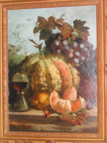 Attributed to Thomas Whittle Senior Still life grapes, melon, oranges and wine goblet, 38.5 x 28.5cm.