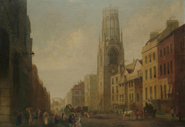 George Sidney Shepherd (British, 1784-1862) Fleet Street towards Temple Bar, 24 3/8 34 1/2 in. (62.4