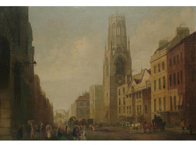 George Sidney Shepherd (British, 1784-1862) Fleet Street towards Temple Bar, 24 3/8 34 1/2 in. (62.4 x 89.7 cm.)