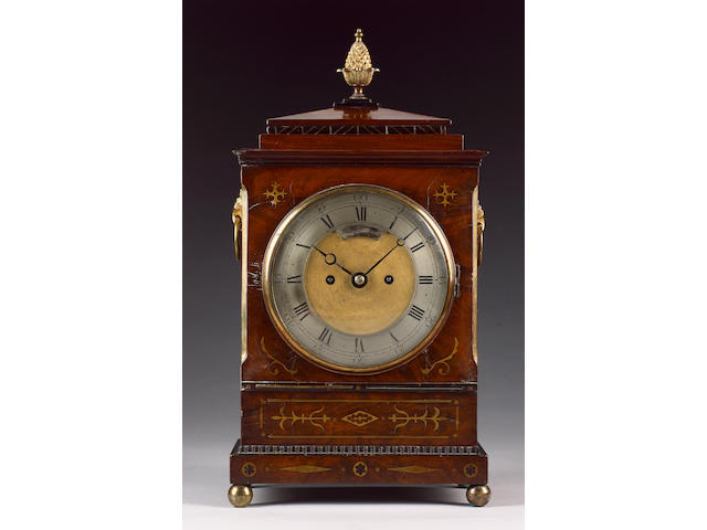 A first half of the 19th century brass inlaid mahogany bracket clock Arnold, London