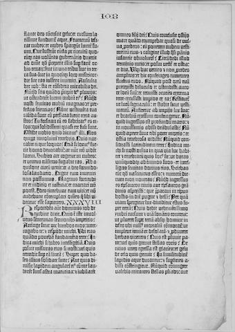 BIBLE 1450 GUTENBERG BIBLE, in Latin Single leaf containing Job XXXVIII-XXXIX