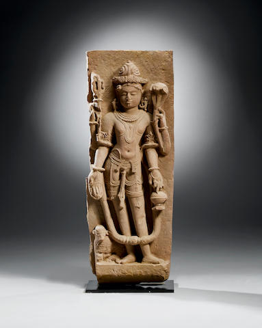 A red sandstone relief panel of Shiva  Central India, probably Madhya Pradesh, 10th/11th Century