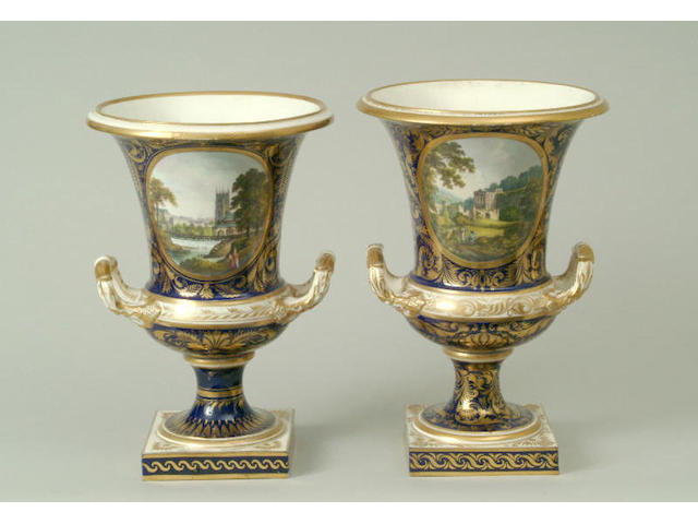 A matched pair of Derby campana urns