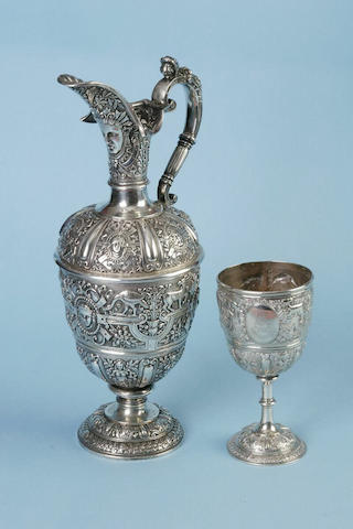 A Victorian Cellini ewer, by Charles Houle, London 1870,