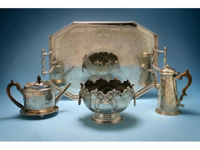 A George II coffee pot, makers mark worn, London 1727