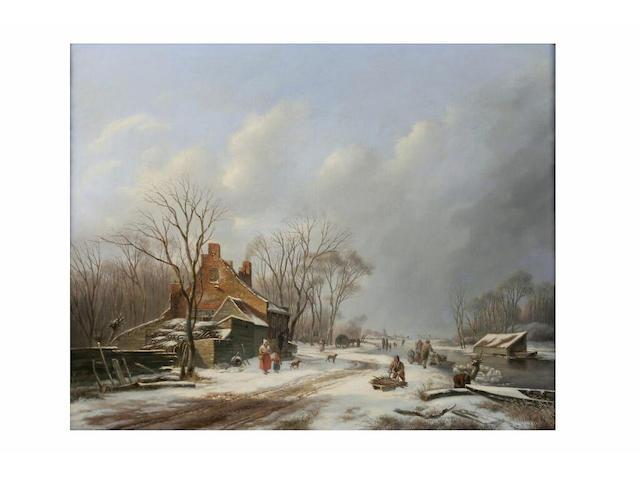 Cornelis Lieste (1817 - 1861) Winter landscape with frozen river and figures, 57 x 69cm.
