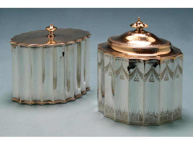 A George III oval tea caddy, by Francis Purton, London 1790,