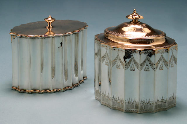 A George III oval tea caddy, by Francis Purton, London 1790,