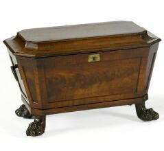 A Regency mahogany cellaret of sarcophagus form,