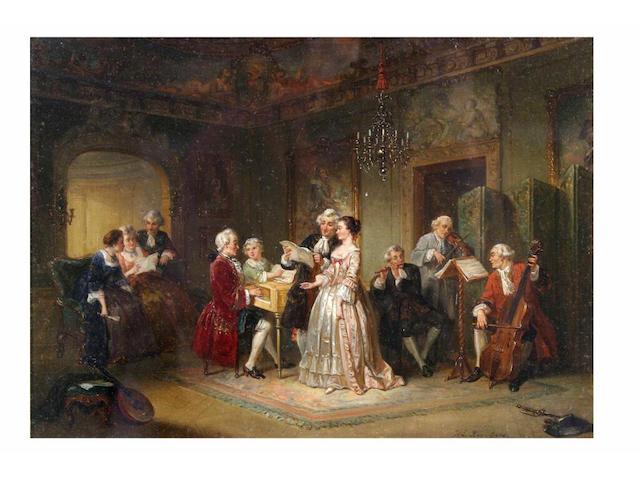 Henrich Engelbert Reyntjens (1817 - 1859) A musical recital, 27 x 37.5cm.