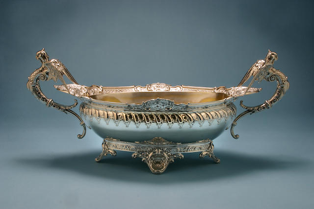An impressive continental oval twin handled bowl, by F W Hespe, .800 standard,