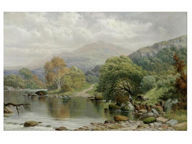 William Henry Mander (1850 - 1922) River landscape with angler on a bank, 39 x 60cm.