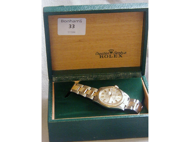 Steel and gold Rolex bracelet watchOyster perpetual date Ref: 1505, no.6020937, 1979