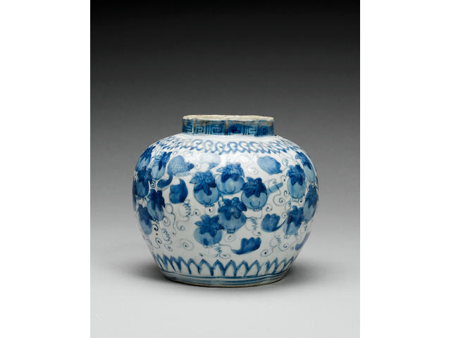 Two Ming lobed blue and white jars Wanli