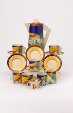 'Applique Blue Lugano' A Conical Coffee Set