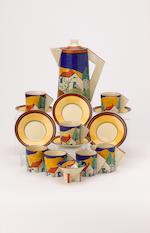 'Applique Blue Lugano' A Conical Coffee Set