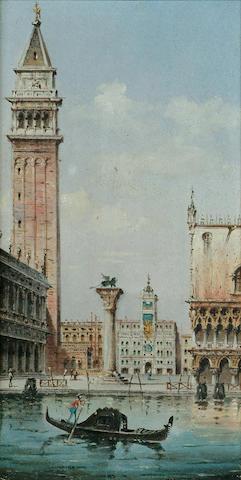Marco Grubas (Italian, 1839-1910) Towards the Piazzetta San Marco, Venice; Towards Santa Maria della Salute, Venice, each 10 x 5 1/4 in. (25.3 x 13.3 cm.) (2)