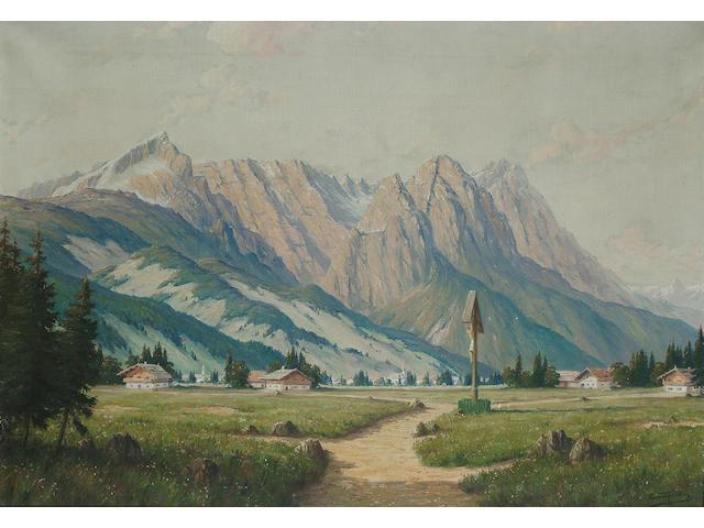 E* Scheddin, An Alpine valley, 28 x 39 1/2 in. (71 x 100.5 cm)