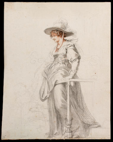 Richard Cosway R.A., Maria Cosway (1760-1838), her daughter Louisa (1790–1796) and dog; Maria stands full-length on steps, wearing 17th century style costume, her dress looped up over an underskirt, her boned bodice over a chemise, a broad-brimmed hat trimmed with ostrich feathers over her curled hair, she holds the hand of her daughter, a greyhound at her feet