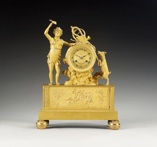 A good first half of the 19th century French ormolu figural mantel clock Leroy et Fils