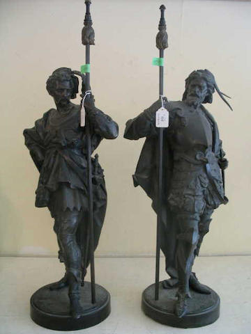 A pair of spelter figures,