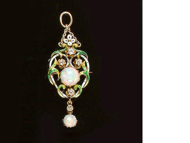 A late 19th century opal, diamond and enamelled pendant/brooch,