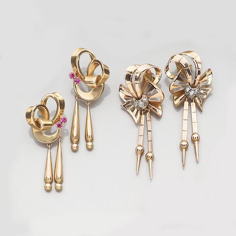 Two pairs of gem-set earpendants (2)