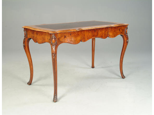 A Victorian walnut and inlaid bureau plat