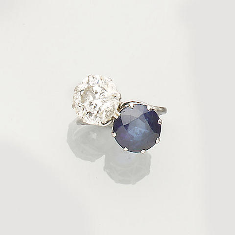 A synthetic sapphire and diamond two-stone ring