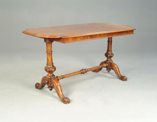 A Victorian walnut library table