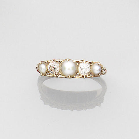 A late Victorian diamond and pearl ring