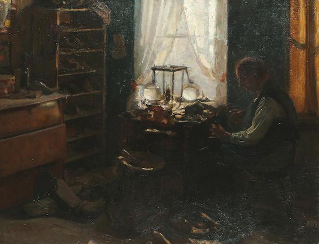 Robert von Stutterheim (German, 1878-1902) The Cobbler's workshop, 31 7/8 x 40 3/4 in. (81 x 103.5 cm.)