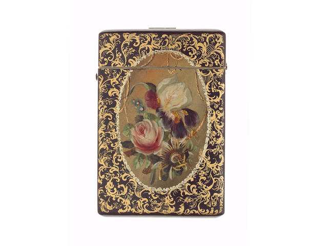 A Victorian lacquer card case,
