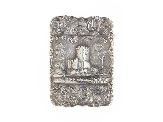 "A Victorian silver ""castle top"" card case, by Hilliard & Thomason, Birmingham 1875,"