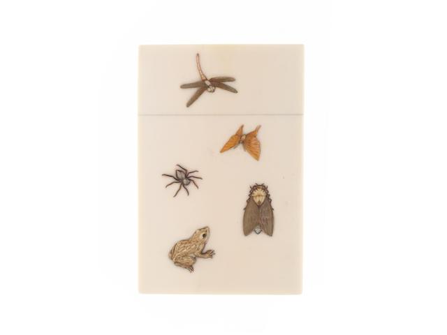 A fine and rare Meiji period ivory and Shibayama decorated card case,