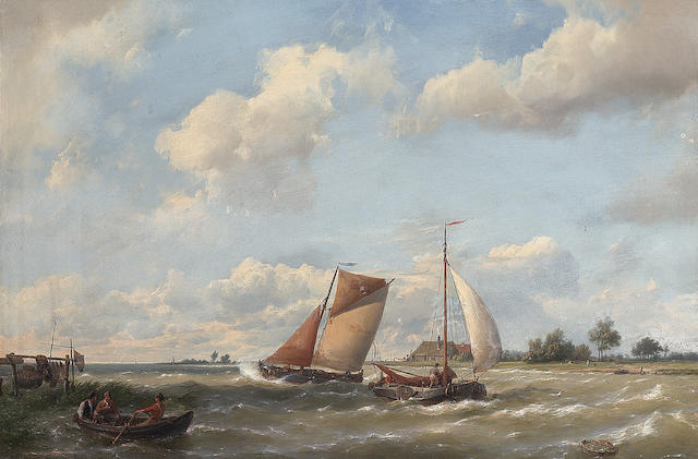 Hermanus Koekkoek (Dutch 1815-1882) Dutch barges off a coast with fishermen in a rowing boat 38 x 55