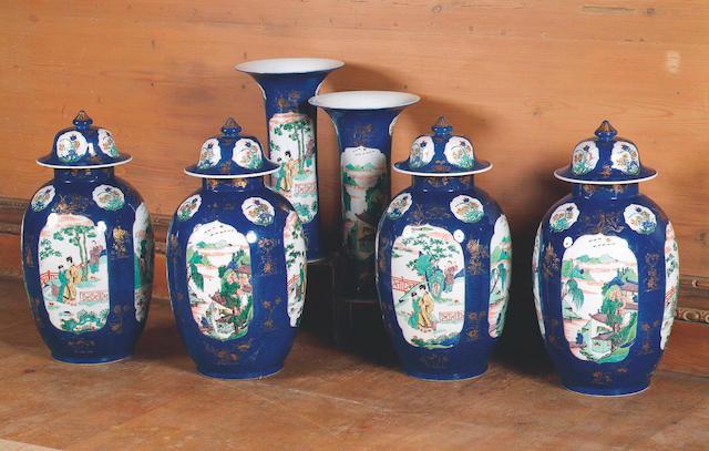 A garniture of Chinese famille Verte vases