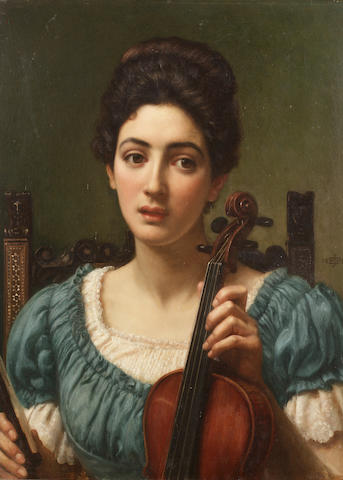 Sir Edward John Poynter (British 1836-1919) The violinist 46 x 35 cm. (18 x 13 3/4 in.)