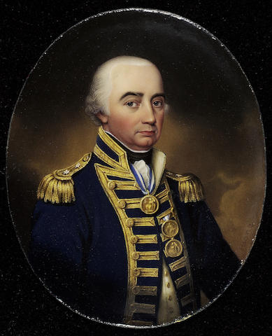 Henry Bone R.A., Cuthbert Collingwood, 1st Baron Collingwood (1748-1810), half-length, wearing rear-admiral's full-dress uniform and the three Naval Gold Medals of Trafalgar, First of June and St. Vincent, all on white ribbons with blue borders