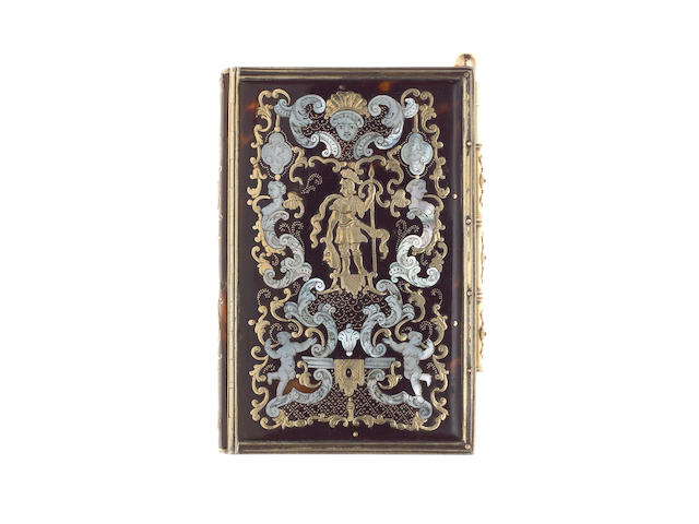A fine late 18th/early 19th century French silver gilt-mounted tortoiseshell, gold and mother of pearl inlaid aide memoire, the panels probably Neopolitan