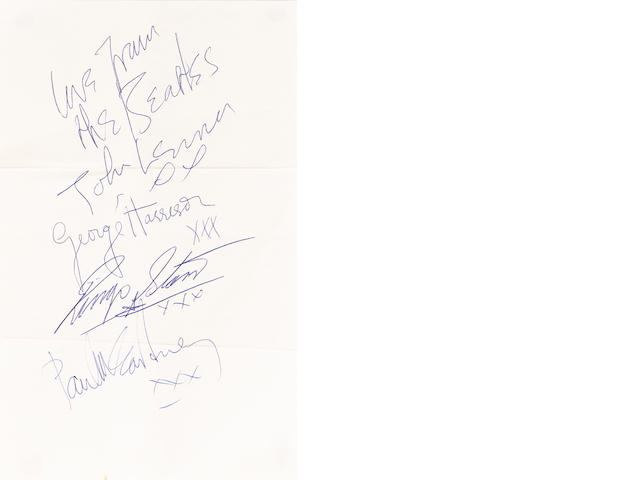 A good set of Beatles autographs, circa 1963,