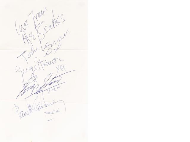 A good set of Beatles autographs, circa 1963,