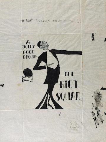 David Bowie's design for Riot Squad publicity material, 1967,