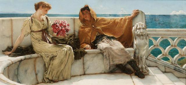 Sir Lawrence Alma-Tadema, OM, RA (British 1836-1912)  Amo te, ama me 17.5 x 38 cm. (7 x 15 in.)