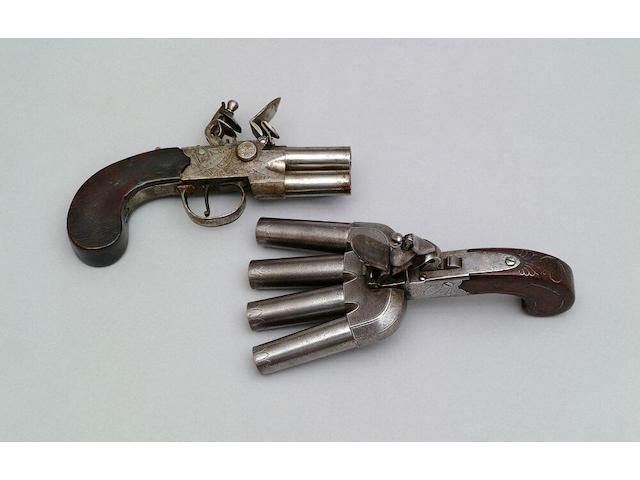 A flintlock boxlock pocket pistol with later ducks-foot conversion