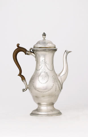 A very rare George III Provincial coffee pot by Hampston & Prince, York, circa 1779/84 (maker's mark, town mark, lion passant, crowned leopards head), fully marked to base, lion passant to rim of cover,
